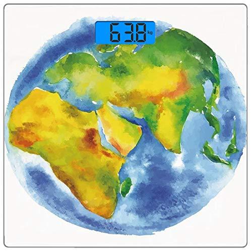 Digitale Präzisionswaage für das Körpergewicht Platz Erde Ultra dünne ausgeglichenes Glas-Badezimmerwaage-genaue Gewichts-Maße,Erdkugel gemalt in den Aquarellen Kartografie-Geografie-Kontinenten, hell