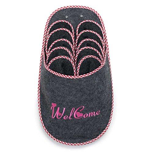 UMOI - rutschfeste hochwertig gefertigte Gästepantoffeln mit aufwendiger Stickerei I ABS Antirutsch I Filzpantoffeln für Damen, Herren und Kinder 5 Paar 5 Verschiedene Größen (Welcome)
