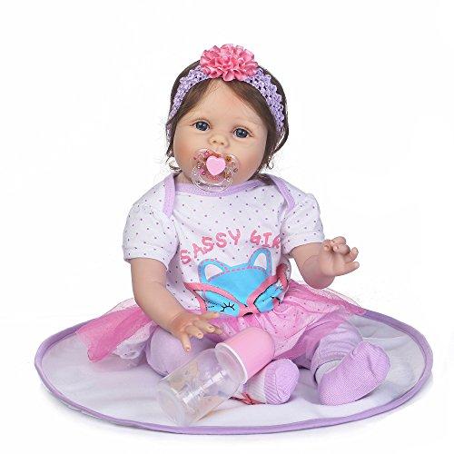 Decdeal 55cm Reborn Baby Mädchen Reborn Baby-Puppe mit PP Baumwolle Körper Inkl. Decke