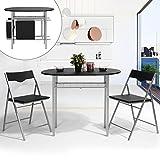 Schwarzes Set mit Klapptisch und Klappstuhl von Innovareds, zusammenklappbarer, länglicher Küchen-, Esstisch und Schreibtisch