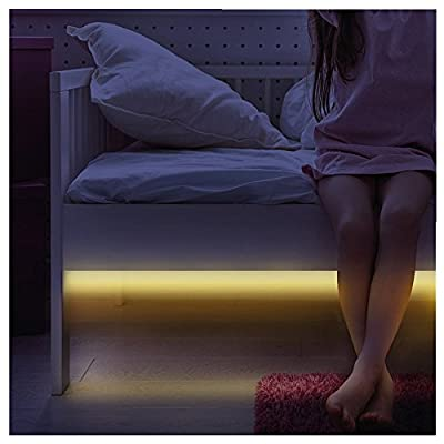 VADOOLL Motion Sensor Night Light - Bright Flexable LED Strip Lights Kit - for Sofa, Bed, Closet, Bathroom, Vanity, Wardrobe, Roof & Kitchen Decoration Lighting - Indoor Plugin Automatic Activated & Shut off produced by VADOOLL(R) - quick delivery from UK