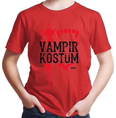 HARIZ  Jungen T-Shirt Vampir Kostüm Karneval Kostüm Inkl. Geschenk Karte Rot 140/9-11 ()