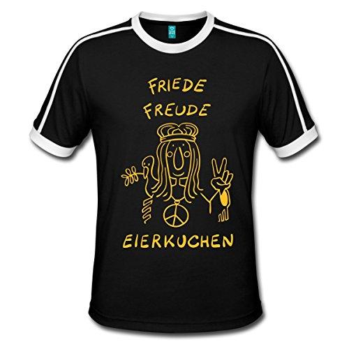 Spreadshirt Friede Freude Eierkuchen T-Shirts Männer Retro-T-Shirt, L, Schwarz/Weiß