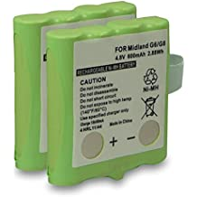2x Batería para Alan 441 | 443 | 5006 | Midland 456R | G6 | G8 | M24 | M48 | M48 Plus | M99 | M99 Plus | PMR446 | SM400 | Reer 5005 | 5006 | Scopi