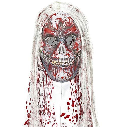 Widmann 76166 Blutige Zombiemaske mit Kapuze und Haaren, Mehrfarbig, Taglia unica