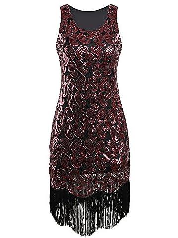 Vikoros Women's 1920s Sequin Paisley Tassels Hem Flapper Costume Cocktail Dress