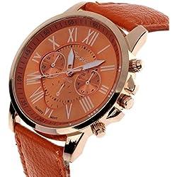 Frauen Faux Leder Analoge Quarz Uhr, Zolimx Genf Römische Ziffern