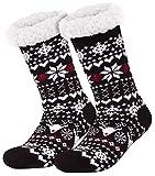 style3 Compagno warme Kuschelsocken mit ABS Anti Rutsch Sohle Wintersocken Herren Damen Socken 1 Paar Einheitsgröße, Farbe:Norwegen Schwarz