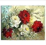 Yzrh Bilder Malen Nach Zahlen Malen Und Kalligraphie Der Blume DIY Ölgemälde Nach Zahlen Home Decor Mit Rahmen,40x50cm