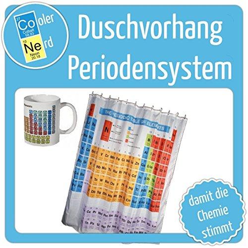 Geschenk Duschvorhang Periodensystem + Kaffetasse Das NERD² Set Periodensystem Duschvorhang