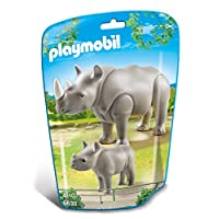Playmobil 6638 City Life Zoo Rhino with Baby(Multi-color)