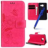 MoreChioce Galaxy A3 2016 Hülle,Galaxy A3 2016 Stand Hülle, Retro Rosa Rot Relief Schutzhülle Klapphülle Flip Wallet Case Magnetische mit Standfunktion für Samsung Galaxy A3 2016 / A310 im Bookstyle