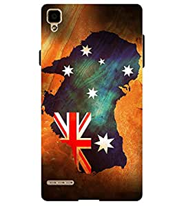 Chiraiyaa Designer Printed Premium Back Cover Case for OPPO F1 (australia old map) (Multicolor)