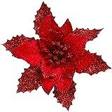 Hniunew Dekoration Glitter Christbaum Ornament Romantisch Weihnachtsblume Glitzer-Pailletten KüNstliche Kunstblumen Festival Fasching Bowknot KräNze Blumen Weihnachtsbaumdeko Dekor