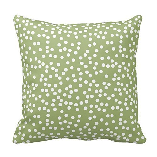 Sage Green and White Polka Dots Design Throw Pillow Cover Case Decorative Square for Home Sofa 18X18 Inches - Sage Green Coffee