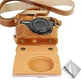 Marrón Funda Cámara Cuero de la PU cámara Digital Bolsa Caso Cubierta con Correa para Canon PowerShot G7X Mark II XJD-P1000-HH09