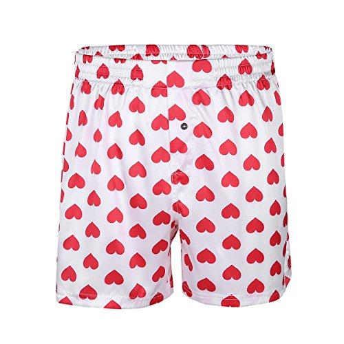 inlzdz Herren Boxershorts Seidig Satin Love Herz Print Boxershorts Sommer Lounge Sport Shorts Hose - weiß - Medium -