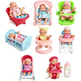 """Pepperonz Set Of 8 Assorted 5"""" Mini Dolls, High Chair, Stroller, Crib, Car Seat, Bath, Potty, Swing"""