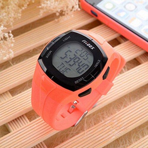 MaMaison007 Impermeabile sport calcolo Monitor della frequenza cardiaca Pulse Calorie guardare - rosso