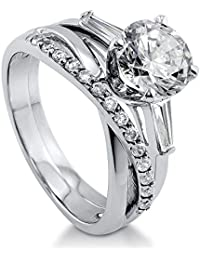 BERRICLE Rhodium Plated Sterling Silver Cubic Zirconia CZ Criss Cross 3-Stone Infinity Ring Set