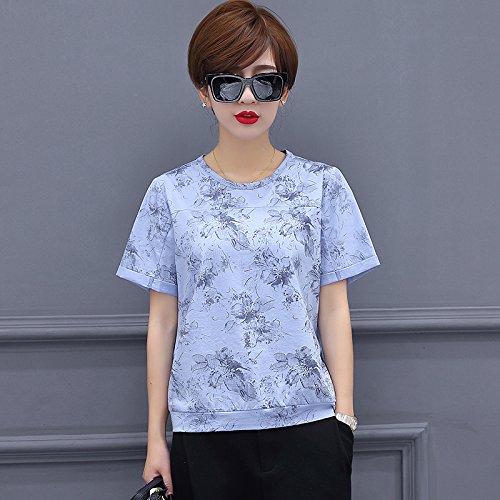 MoMo T-Shirt à Manches Courtes d'été lâche Mince Simple Tops imprimé col Rond T-Shirts en Coton mercerisé,Bleu Clair,XXXL