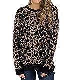 Tianwlio Damen Winter Langarmshirt Hoodie Pullover Mode Leopard Top Blusen Langarmhemd Reißverschluss T-Shirt Femme Blusenhemd Braun S