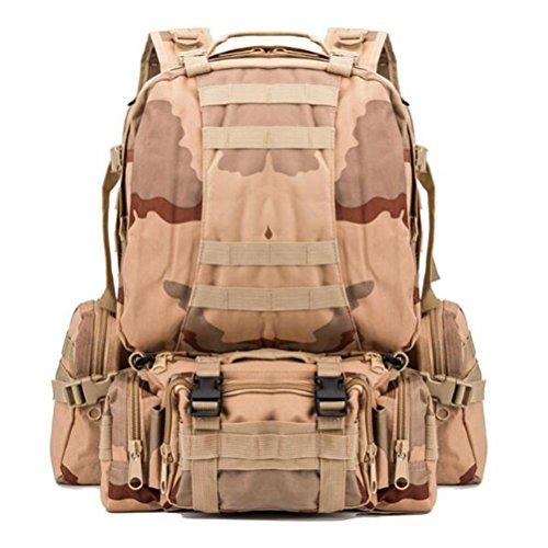 MFFACAI Rucksack 600D 55L Militär Multifunktionskombination Shopping Bewegung Limit Challenge Outdoor Rucksack, Desert Camouflage
