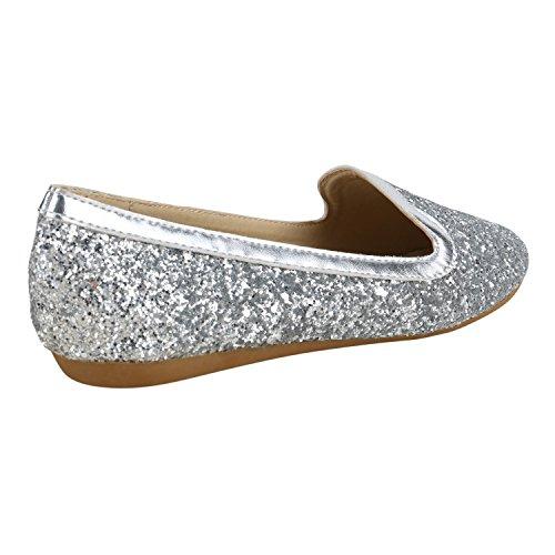 Damen Ballerinas Slipper Slip Ons Absatz in mehreren Farben 36 -41 Silber Silber Glitzer