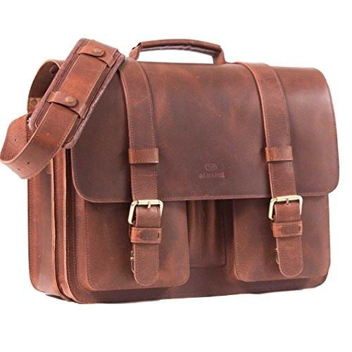 ALMADIH-Genuine-Leather-Briefcase-ROY-Messenger-brown-vintage-Handmade-Satchel-Business-Work-Bag-Uni-College-School-teacher-Shoulder-Tote-Bag-Cross-Body-Laptop-Courier-Bag