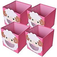 Preisvergleich für TE-Trend 4 Stück Faltbox Spielbox Tiermotiv Schaf Aufbewahrung Spielzeug Spielzimmer