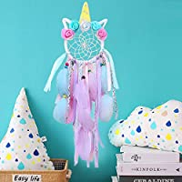 SPECOOL Unicorn Dream Catchers for Kids, Handmade Flower Pink Dream Catcher for Girls Bedroom Wall Hanging Decoration