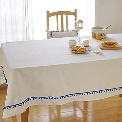 Qingv Nordic Nappe Coton Blanc Bleu Boule brut en dentelle, blanc, 140*220