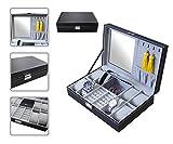 Todeco - Schmuckbox für Uhren , Uhren Schmuck-Vitrine - Material der Box: MDF - Kissenmaterial: Samt - 8 Uhren, Schmuck und Spiegel, Grau