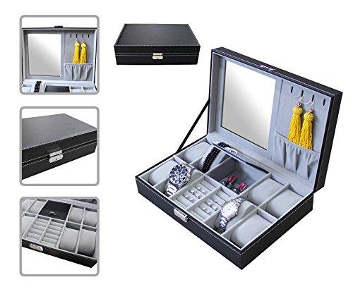 Todeco-Schmuckbox-fr-Uhren-Uhren-Schmuck-Vitrine-Gre-30-x-20-x-8-cm-Material-der-Box-PU-8-Uhren-Schmuck-und-Spiegel-Grau