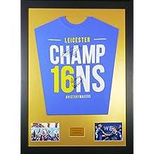 Vardy y Mahrez Leicester City firmado camiseta enmarcada pantalla con COA