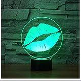 Lèvres Forme Veilleuse 3D Led Visuel Coloré Baiser Lampe De Table Usb Éclairage Du Sommeil Chambre Décor Romantique Cadeaux A