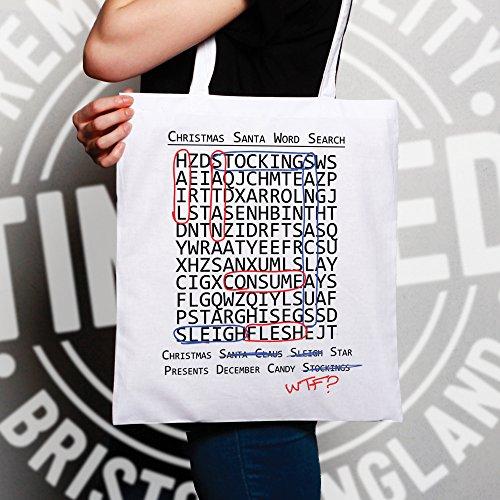 Natale Sacchetto Di Tote Crossword Hidden Significato slogan stampato design White