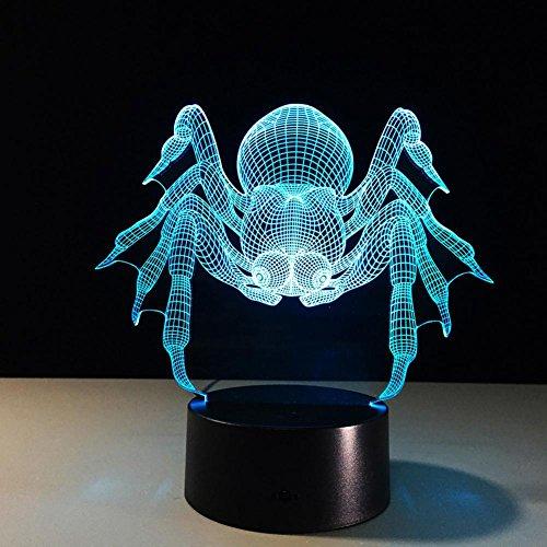 OOFAY LIGHT® 3D LED Nachtlicht Lampe Spinnen-optische Täuschungs-Noten-7 Farbe, die mit Acryl-Ebene, ABS Plastikunterseite, USB-Ladegerät-Tabellen-Schreibtisch-Schlafzimmer-Dekorations-Licht ändert -