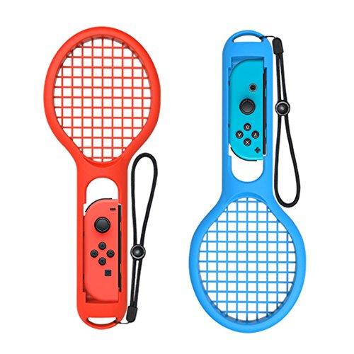 whiteoak Tennisschläger für Nintendo Schalter Joy-Con Controller, Zubehör Griff für Mario Tennis Aces & Anderen Körperfühlsphärensystemen Basieren (Rot und Blau)