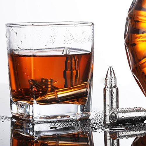 2MEET Whisky Ice Cubes Set de Regalo 6 Reutilizables Rocas de Enfriamiento de Acero Inoxidable Mejor Whisky Cooling Stones Hielo Complementario Forma de Bala Regalo para Hombres