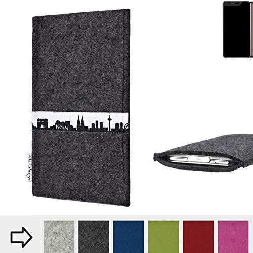 flat.design für Allview X4 Xtreme Schutzhülle Handy Tasche Skyline mit Webband Köln - Maßanfertigung der Schutztasche Handy Hülle aus 100% Wollfilz (anthrazit) für Allview X4 Xtreme