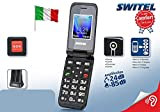 Switel - Teléfono móvil para personas mayores con volumen y timbre amplificados y compatible con usuarios de audífonos, certificado M3/T3HAC, función SOS, telesocorro, teleurgencias, telealarma, GSM, base de carga incluida
