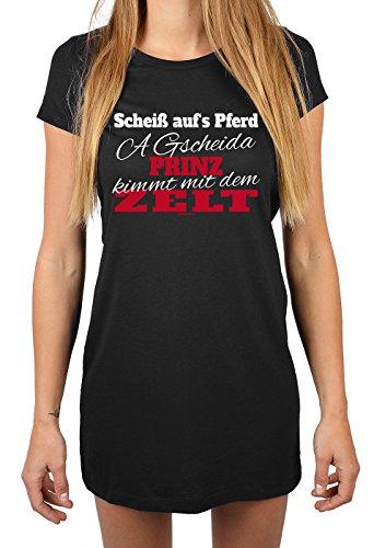 Sleepshirt/Damen-Nachthemd/Schlafhemd für Campingfreunde: Scheiß auf´s Pferd A gscheida Prinz kimmt mit dem Zelt Schwarz