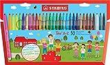 Feutre de coloriage - STABILO Trio A-Z - Étui carton de 30 feutres pointe moyenne - dont 5 couleurs fluo