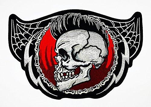 Big Totenkopf groß Skelett Kette Patch Weste/Jacke Biker Patch Motorrad Fahrer Biker Tattoo Jacke T-Shirt Patch Sew Iron on gesticktes Schild - Gott über Halloween