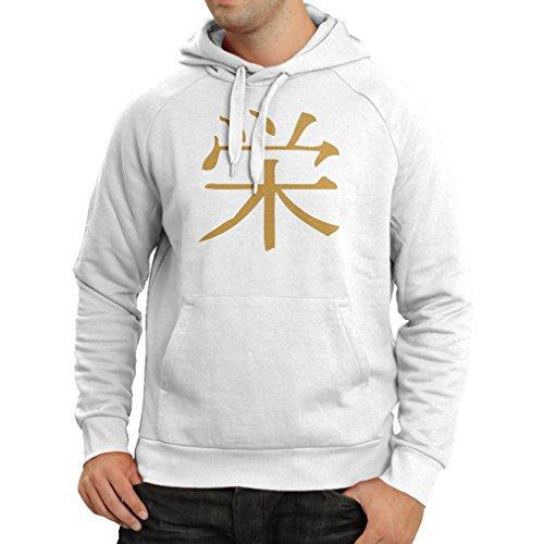 over Wohlstandlogo - Chinesisch - Japanisches Kanji-Symbol (Medium Weiß Gold) (Halloween Los Simpson Jahr 2017)