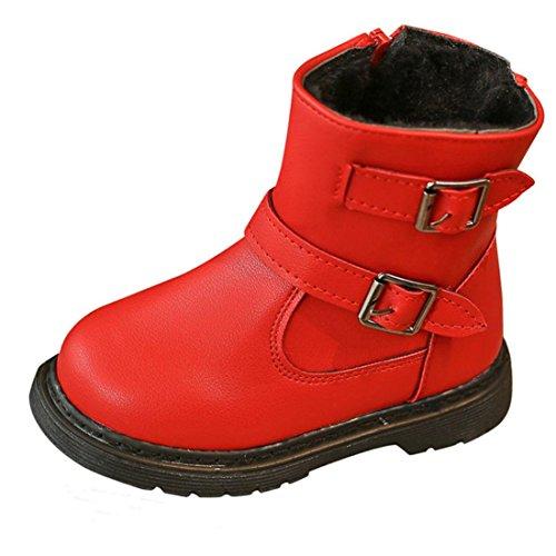Warm Kinder Stiefel Btruely Mode Warme Baby Martin Sneaker Plus Baumwolle Jungen Mädchen Beiläufig Kleinkind Schuhe (22, (Schuhe Kleinkind Rote)