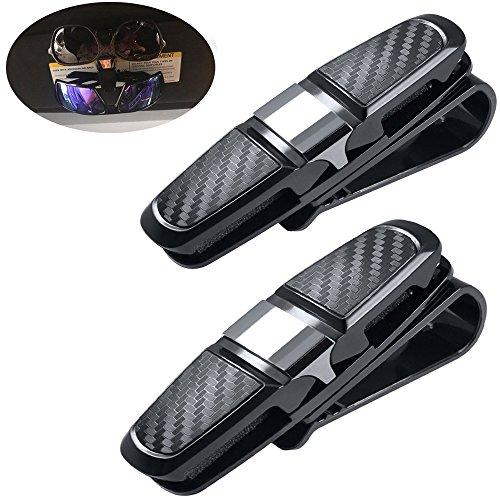 2 Pack Brillenhalter für Auto Sonnenblende, Fahrzeug Doppel Sonnenbrille Brille montieren mit Parkticket Card Clip. ( Schwarz und Silber )