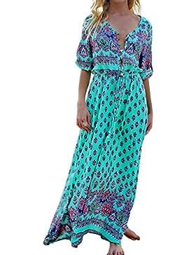 826be865d05f StyleDome Donna Vestito Lungo Spiaggia Collo V Abito Maxi Floreale Manica  Corta Casual Elegante