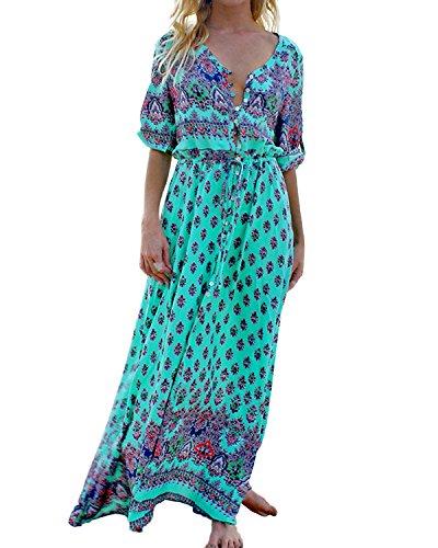 StyleDome Donna Vestito Lungo Spiaggia Collo V Abito Maxi Floreale Manica Corta Casual Elegante Verde